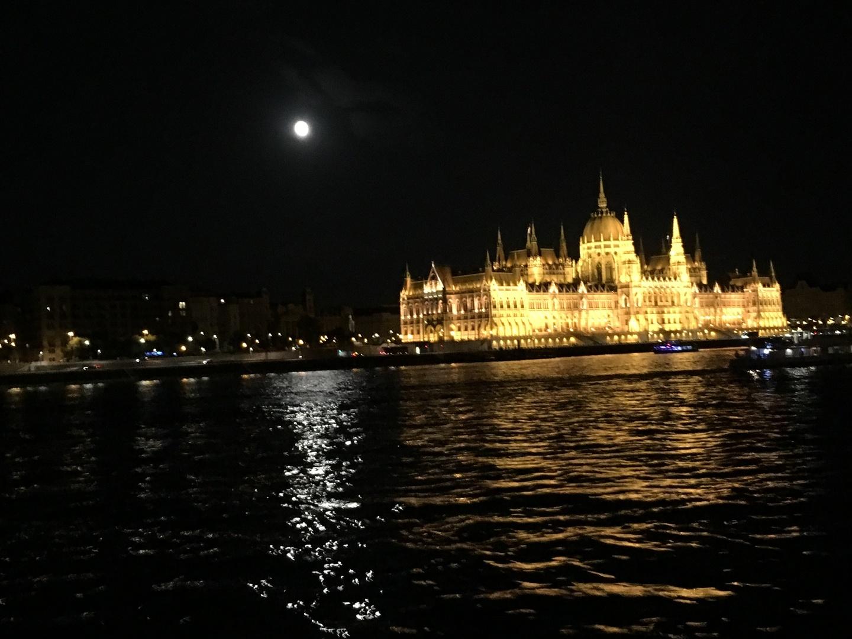 ドナウ川の夜景は綺麗な事は知っていましたがちょうど満月で波間に映る月明かりが最高