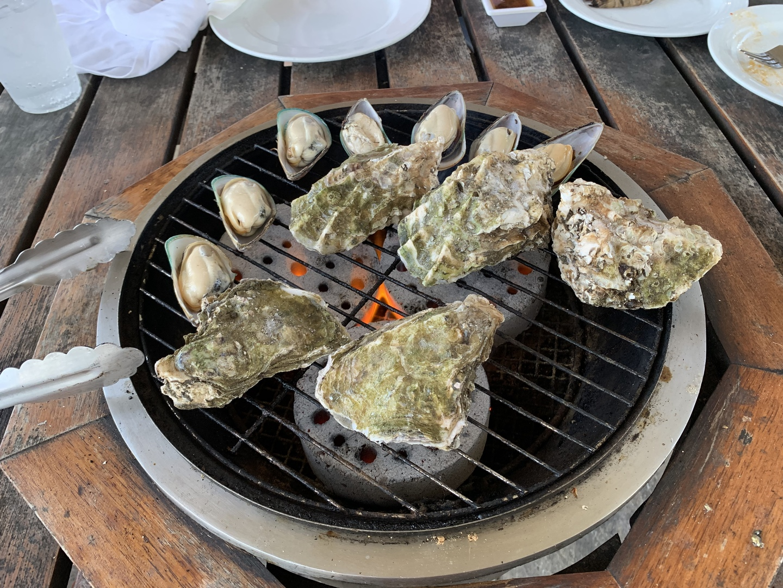 カキとムール貝の食べ放題もあり、たくさん食べました!お肉とかは室内にあって取りに行く感じでした。飲み物がなくなったら、係りの人が注いでくれてディナーショーを見ながら美味しく食べました!