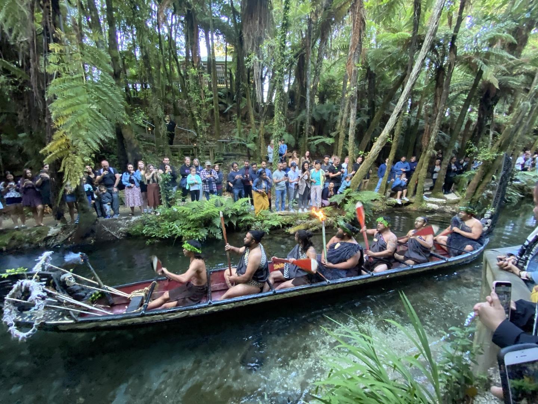 舞台だけのショーではなく、レインボースプリングスで、シダや泉の話をしていただいたり、小川でマオリ族の船に乗って来るパフォーマンス等見ることができ たり、料理もマオリの人たちがしてたように蒸すところから見学でき、その料理が提供されるので(ハンギ料理だけでなくもちろんサラダやケーキもあります)、臨場感があって楽しかってです。