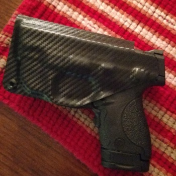 Smith and Wesson M/&P Shield 940 wGreen Ct Laser Lg-489G Police Blue And Black Kydex SideCar IWB Appendix Firearm Made in the USA