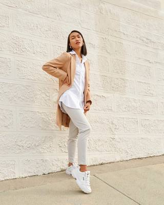@thesunkissedblasian said this fit feels like wearing pajamas. Swipe to shop the Aero Tunic and Momentum Chino. #collab