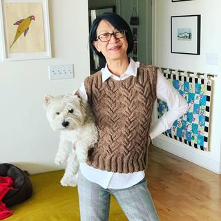 wesstl making us look like supermodels! Shirt: ministryofsupply Juno recycled shirt; Vest: hand knit ayako.monier pattern using berrocoyarn Ultra Alpaca Natural (purchased websyarn); Pants: bananarepublic Sloan houndstooth  #westieaccessory #westitude #han...