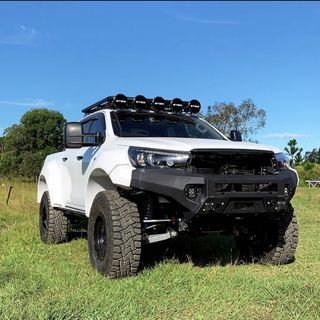 """Sneak peak release from our sponsors superior4x4 here's some pictures of the highly anticipated Superior X-Track Hilux. 🤤 ✅ Coil Converted ✅ 35"""" Tyres ✅ Tracked Corrected Diff ✅ Wide Tracked IFS Front ✅11"""" Wider than Standard 😲 ✅ 100% Street Legal  Coming Soon for Pre Registered Hilux's across Australia! Stay tuned! 👌  #hilux #n80 #revohilux #revo #toyota #coilconversion #superiorengineering #superior4x4 #suspension #widetracked #streetlegal #superiorxtrack #flares #remotereservoirs #wide #phat #weapon #vehicle #modified"""